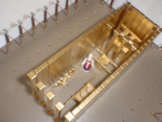 Photo showing placement of Holy Place walls in the Tabernacle Kit, overhead view